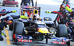 22.02.2012 Barcelona Spain. Formula One testind day2. Red Bull Racing with German driver Sebastian Vettel