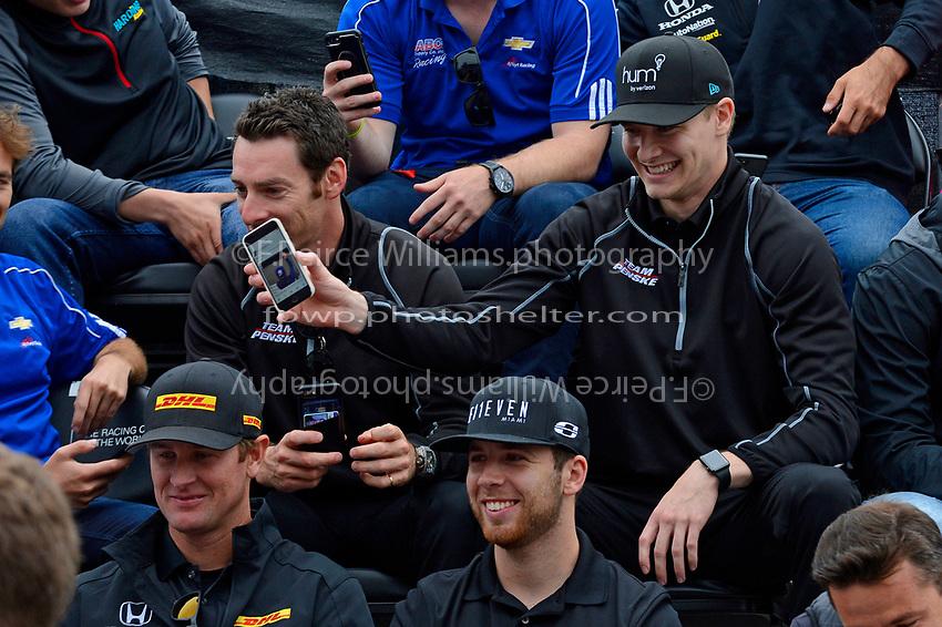 Verizon IndyCar Series<br /> Indianapolis 500 Drivers Meeting<br /> Indianapolis Motor Speedway, Indianapolis, IN USA<br /> Saturday 27 May 2017<br /> Josef Newgarden, Team Penske Chevrolet shows a video around.<br /> World Copyright: F. Peirce Williams
