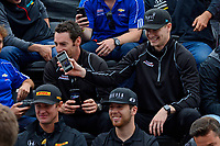 Verizon IndyCar Series<br /> Indianapolis 500 Drivers Meeting<br /> Indianapolis Motor Speedway, Indianapolis, IN USA<br /> Saturday 27 May 2017<br /> Josef Newgarden, Team Penske Chevrolet shows a video around.<br /> World Copyright: F. Peirce Williams