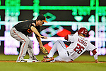 18 May 2012: Baltimore Orioles infielder J. J. Hardy catches Jesus Flores stealing in the 5th inning against the Washington Nationals at Nationals Park in Washington, DC. The Orioles defeated the Nationals 2-1 in the first game of their 3-game series. Mandatory Credit: Ed Wolfstein Photo