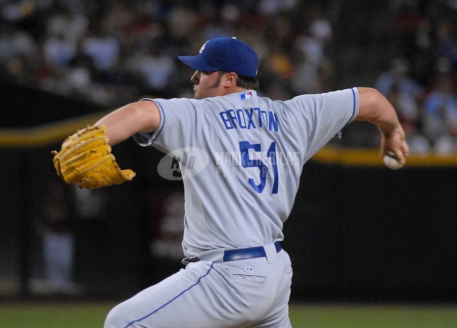 Jun 26, 2007; Phoenix, AZ, USA; Los Angeles Dodgers pitcher (51) Johnathan Broxton against the Arizona Diamondbacks at Chase Field. Mandatory Credit: Mark J. Rebilas