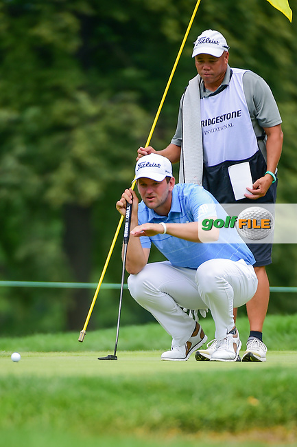Bernd Wiesberger (AUT) lines up his putt on 8 during Sunday's final round of the World Golf Championships - Bridgestone Invitational, at the Firestone Country Club, Akron, Ohio. 8/6/2017.<br /> Picture: Golffile | Ken Murray<br /> <br /> <br /> All photo usage must carry mandatory copyright credit (&copy; Golffile | Ken Murray)