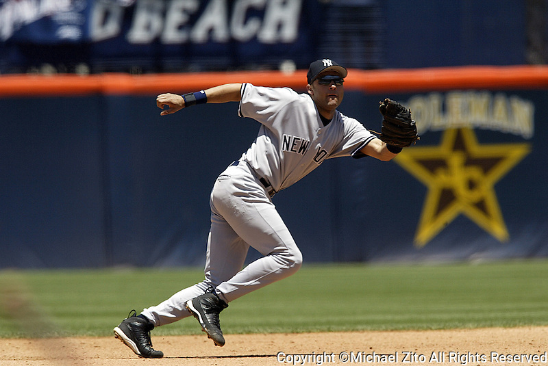Derek Jeter In a  MLB game played at Qualcomm Stadium where the New York Yankees beat the San Diego Padres 1-0