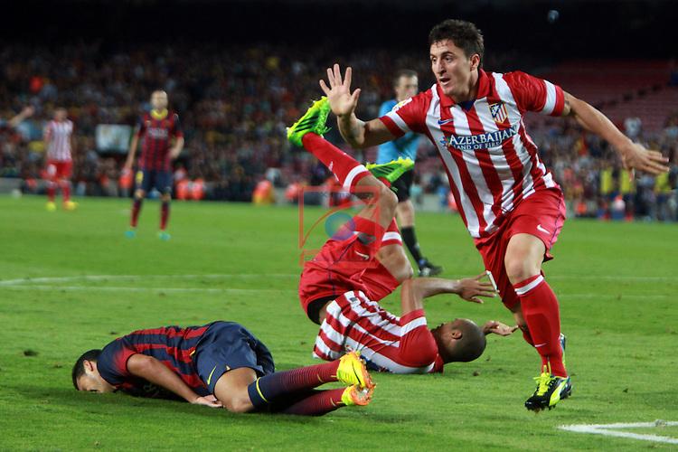 Supercopa de Espanya - Tornada.<br /> 2013-08-28-FC Barcelona vs Atletico de Madrid: 0-0.<br /> Pedro, Miranda &amp; C. Rodriguez.