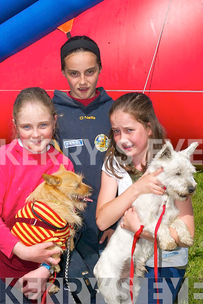 GROOMED: Louise Langston, Michelle Costello and Siadhbh OSullivan, Killorglin, with their dogs Scotty and Momo at the dog show in the Fairfield Killorglin on Sunday, in conjunction with the Killorglin Pony Show..