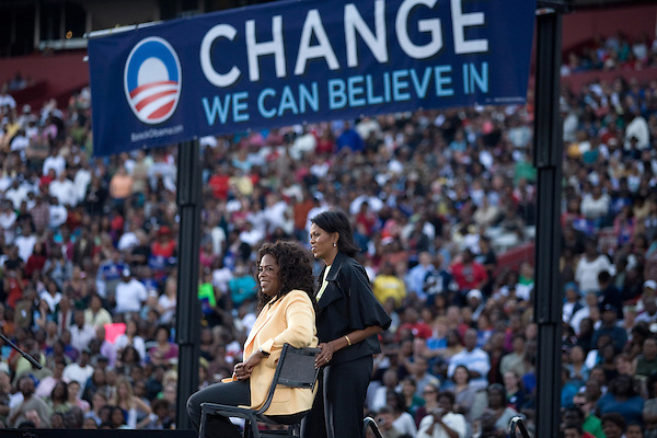 December 9, 2007. Columbia, SC.. Democratic presidential hopeful and US Senator, Barack Obama held a rally for an estimated 29,000 people at the University of South Carolina's football stadium with special guest Oprah Winfrey.. Michelle Obama and Oprah. ..