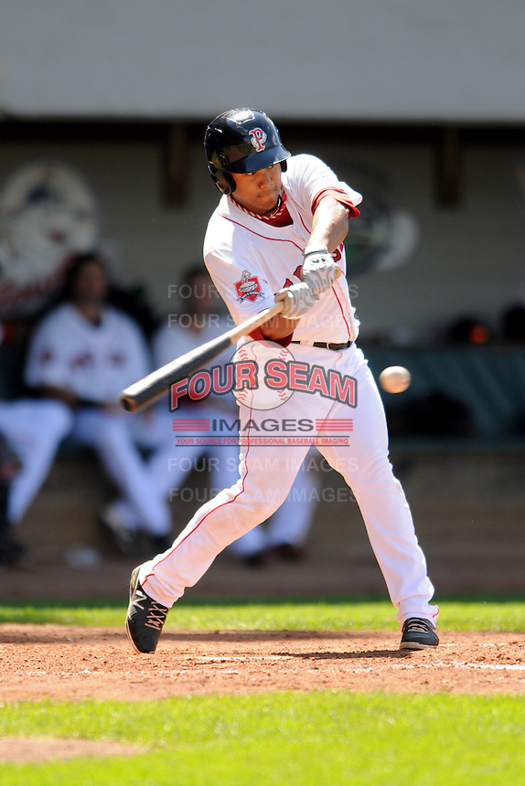 Pawtucket Red Sox infielder Heiker Meneses #16 during a game versus the Louisville Bats at McCoy Stadium in Pawtucket, Rhode Island on August 14, 2013.  (Ken Babbitt/Four Seam Images)