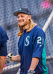 23 May 2017: Seattle Mariners infielder Taylor Motter awaits his turn in the batting cage prior to facing the Washington Nationals at Nationals Park in Washington, DC. The Nationals defeated the Mariners 10-1 to take the first game of their inter-league series. Mandatory Credit: Ed Wolfstein Photo *** RAW (NEF) Image File Available ***