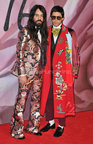 Alessandro Michele and Jared Leto at the Fashion Awards 2016, Royal Albert Hall, Kensington Gore, London, England, UK, on Monday 05 December 2016. <br /> CAP/CAN<br /> ©CAN/Capital Pictures /MediaPunch ***NORTH AND SOUTH AMERICAS ONLY***