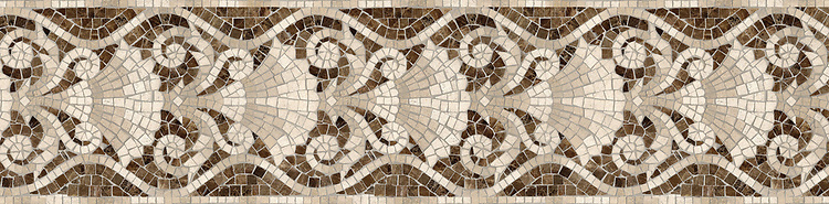 "10"" Tatiana border, a hand-cut stone mosaic, shown in polished Emperador Dark, honed Fontenay Claire, Saint Vincent, Saint Richard, and Ivory Cream."