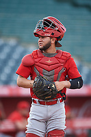 Edwin Bisay (5), of the AZL Angels, between innings of an Arizona League game against the AZL Padres 1 on August 5, 2019 at Tempe Diablo Stadium in Tempe, Arizona. AZL Padres 1 defeated the AZL Angels 5-0. (Zachary Lucy/Four Seam Images)