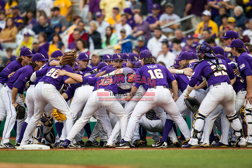 LSU Tigers before the Southeastern Conference baseball game against the Texas A&M Aggies on April 24, 2015 at Alex Box Stadium in Baton Rouge, Louisiana. LSU defeated Texas A&M 9-6. (Andrew Woolley/Four Seam Images)