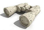 Close-up of binoculars wrapped in financial newspaper over white background