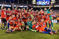 East Rutherford, NJ - Sunday June 26, 2016: Chile celebrates after a Copa America Centenario finals match between Argentina (ARG) and Chile (CHI) at MetLife Stadium.