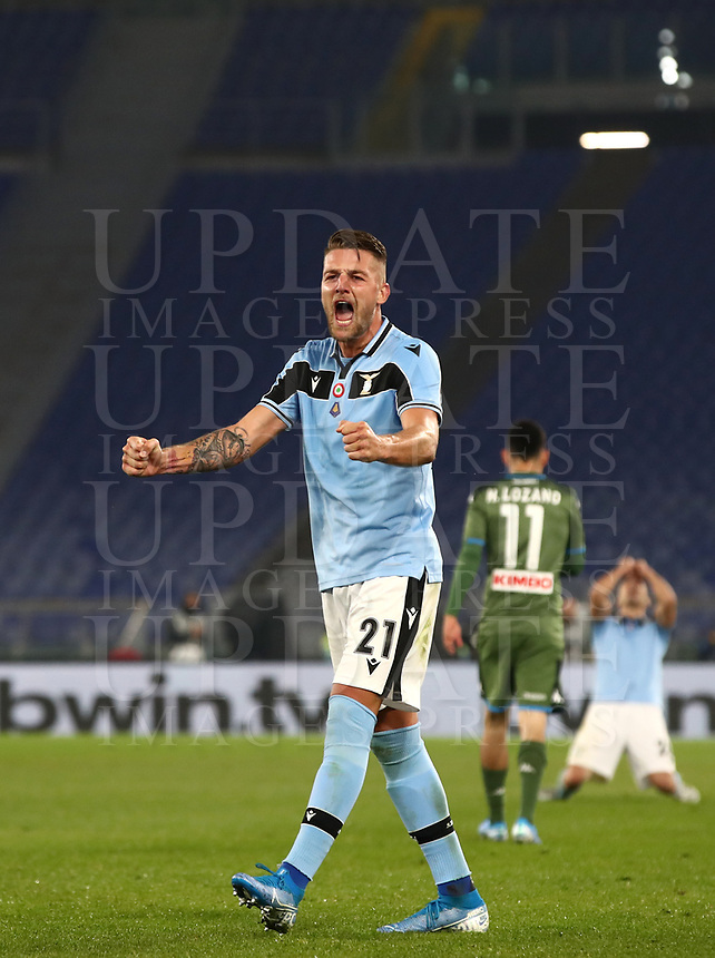 Football, Serie A: S.S. Lazio - Napoli, Olympic stadium, Rome, January 11, 2020.<br /> Lazio's Sergej Milinkovic-Savic celebrates after winning 1-0 the Italian Serie A football match between S.S. Lazio and Napoli at Rome's Olympic stadium, Rome , on January 11, 2020.<br /> UPDATE IMAGES PRESS/Isabella Bonotto