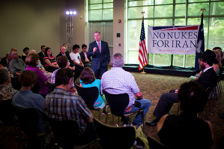 UNITED STATES - AUGUST 10: Presidential candidate Sen. Lindsey Graham (R-SC) holds a town hall meeting on the Iran nuclear agreement in Greenville, S.C., on Monday, Aug. 10, 2015. (Photo By Bill Clark/CQ Roll Call)
