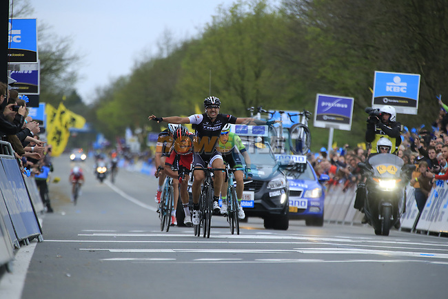 Fabian Cancellara (SUI) Trek Factory Racing outsprints Greg Van Avermaet (BEL) BMC Racing Team in 2nd place and Sep Vanmarcke (BEL) Belkin Pro Cycling 3rd to take victory in the 2014 Tour of Flanders, Oudenaarde, Belgium.<br /> Picture: Eoin Clarke www.newsfile.ie