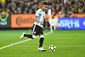 June 9th 2017, Melbourne Cricket Ground, Melbourne, Australia; International Football Friendly; Brazil versus Argentina; Jose Luis Gomez of Argentina prepares to kick the ball