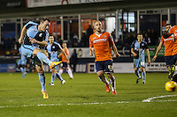 Garry Thompson of Wycombe Wanderers shoots during the Sky Bet League 2 match between Luton Town and Wycombe Wanderers at Kenilworth Road, Luton, England on 26 December 2015. Photo by David Horn.