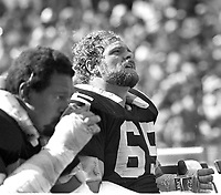 Oakland Raiders Mickey Marvin and Gene Upshaw..<br />(1980 photo/Ron Riesterer)