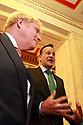 BELFAST, Jan. 13, 2020  British Prime Minister Boris Johnson and Taoiseach (Irish prime minister) Leo Varadkar take questions at Parliament Buildings at Stormont, Belfast, Northern Ireland on Jan 13, 2020.