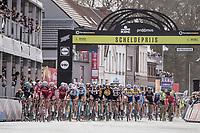 peloton passes the finish line in Schoten with 1 local lap to go<br /> <br /> 105th Scheldeprijs 2017 (1.HC)<br /> 1 Day Race: Mol › Schoten (BEL/202km)