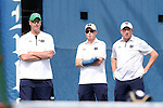 03 April 2015: Notre Dame head coach Ryan Sachire (left) with Adam Schaechterle and Cris James. The Duke University Blue Devils hosted the University of Notre Dame Fighting Irish at Ambler Stadium in Durham, North Carolina in a 2014-15 NCAA Division I Men's Tennis match. Duke won the match 5-2.
