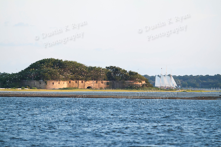 castle pinckney in the charleston harbor and a schooner