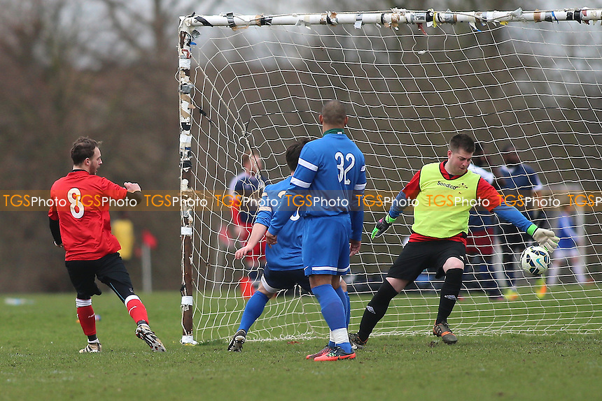 Wenlock score their third goal during Wenlock Arms (red) vs Gladstone Wanderers, Hackney & Leyton Sunday League Jack Morgan Cup Semi-Final Football at Hackney Marshes on 26th February 2017