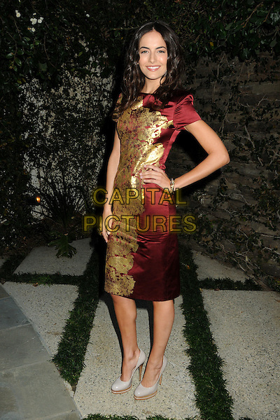 CAMILLA BELLE .3rd Annual Women In Film Pre-Oscar Party held at a Private Residence in Beverly Hills, California, USA, .4th March 2010..full length red gold foil shiny print pattern patterned dress hand on hip bracelet grey gray patent shoes wooden heel platform heels .CAP/ADM/BP.©Byron Purvis/AdMedia/Capital Pictures.