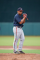 GCL Braves pitcher Miguel Jerez (33) during a Gulf Coast League game against the GCL Orioles on August 5, 2019 at Ed Smith Stadium in Sarasota, Florida.  GCL Orioles defeated the GCL Braves 4-3 in the first game of a doubleheader.  (Mike Janes/Four Seam Images)