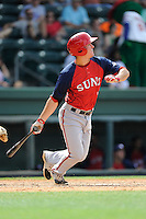 Right fielder Cody Dent (4) of the Hagerstown Suns, in a game against the Greenville Drive on May 12, 2015, at Fluor Field at the West End in Greenville, South Carolina. Greenville won, 4-0. (Tom Priddy/Four Seam Images)