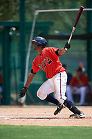 GCL Braves designated hitter Nicholas Vizcaino (19) follows through on a swing during a game against the GCL Pirates on July 27, 2017 at ESPN Wide World of Sports Complex in Kissimmee, Florida.  GCL Braves defeated the GCL Pirates 8-6.  (Mike Janes/Four Seam Images)