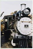 A partial head-on view of RGS #41 at Knott's Berry Farm depot.<br /> RGS  Buena Park, CA  Taken by Dorman, Richard L. - 2/15/2002