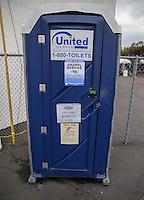 Feb 10, 2017; Pomona, CA, USA; NHRA port o john toilet during qualifying for the Winternationals at Auto Club Raceway at Pomona. Mandatory Credit: Mark J. Rebilas-USA TODAY Sports