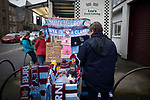 A souvenir stand outside the stadium before Burnley hosted Everton in an English Premier League fixture at Turf Moor. Founded in 1882, Burnley played their first match at the ground on 17 February 1883 and it has been their home ever since. The visitors won the match 5-1, watched by a crowd of 21,484.