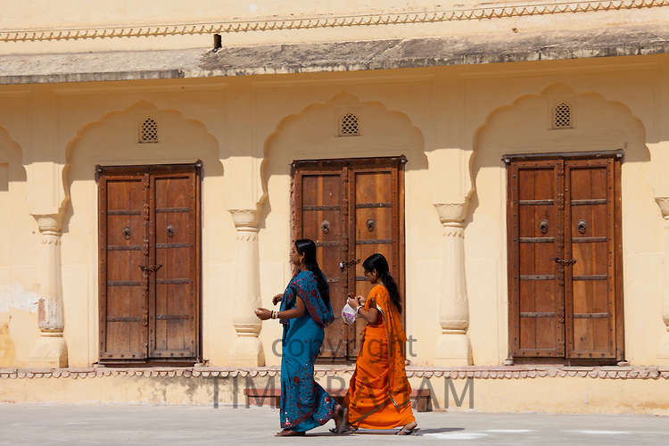 Jaleb Chowk courtyard at 16th Century The Amber Fort a Rajput fort in Jaipur, Rajasthan, Northern India