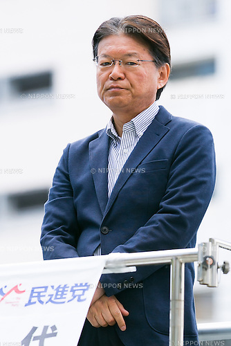 Akira Nagatsuma Acting President of The Democratic Party of Japan attends a campaign event of the candidate Shiori Yamao for July's House of Councillors elections in Shinjuku on June 10, 2016, Tokyo, Japan. DPJ Acting President Nagatsuma came to support Yamao's election campaign. Yamao has highlighted a shortage of nurseries as a key issue. (Photo by Rodrigo Reyes Marin/AFLO)