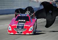 Feb. 10, 2012; Pomona, CA, USA; NHRA funny car driver Cruz Pedregon during qualifying at the Winternationals at Auto Club Raceway at Pomona. Mandatory Credit: Mark J. Rebilas-