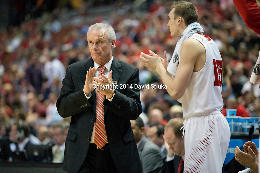 Wisconsin Badgers Head Coach Bo Ryan looks on during a regional semifinal NCAA college basketball tournament game against the Baylor Bears Thursday, March 27, 2014 in Anaheim, California. The Badgers won 69-52. (Photo by David Stluka)