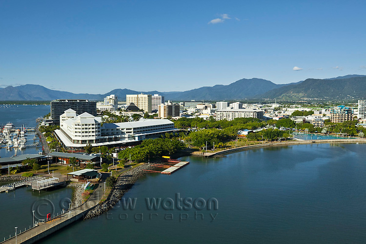 Aerial view of Shangri La Hotel at The Pier with city centre in background.  Cairns, Queensland, Australia