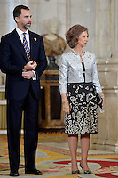 Prince Felipe and Queen Sofia receive International Olympic Committee Evaluation Commission Team for a dinner at the Royal Palace.March 20,2013. (ALTERPHOTOS/Pool) /NortePhoto