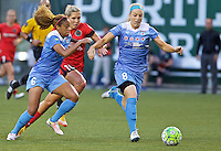 Portland, Oregon - Wednesday June 22, 2016: Chicago Red Stars defenders Casey Short (6) and Julie Johnston (8) block the path of Portland Thorns FC midfielder Allie Long (10) during a regular season National Women's Soccer League (NWSL) match at Providence Park.