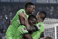 BOGOTA - COLOMBIA -27 -11-2016: Jugadores de Atlético Nacional celebran después de anotar un gol a Millonarios durante partido de ida por los cuartos de final de la Liga Aguila II 2016 jugado en el estadio Nemesio Camacho El Campin de la ciudad de Bogota./ Players of Atletico Nacional celebrate after scoring a goal to Millonarios during first leg match for the final quarters of the Liga Aguila II 2016 played at the Nemesio Camacho El Campin Stadium in Bogota city. Photo: VizzorImage / Gabriel Aponte / Staff.