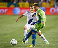 CARSON, CA - May 26, 2012: LA Galaxy midfielder Robbie Rogers (14) during the LA Galaxy vs Seattle Sounders match at the Home Depot Center in Carson, California. Final score, LA Galaxy 4, Seattle Sounders 0.