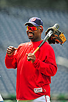 6 June 2009: Washington Nationals' first base coach Marquis Grissom watches batting practice prior to a game against the New York Mets at Nationals Park in Washington, DC. The Nationals defeated the Mets 7-1, marking pitcher John Lannan's first complete game of his career. Mandatory Credit: Ed Wolfstein Photo
