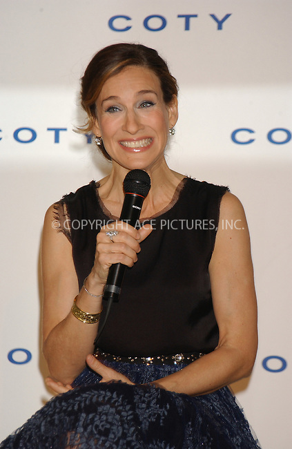 WWW.ACEPIXS.COM . . . . . ....NEW YORK, FEBRUARY 8, 2005....Sarah Jessica Parker at a press conference announcing her partnership with Coty Inc. for a fragrance licensing agreement held at The Carlyle Hotel.....Please byline: KRISTIN CALLAHAN - ACE PICTURES.. . . . . . ..Ace Pictures, Inc:  ..Philip Vaughan (646) 769-0430..e-mail: info@acepixs.com..web: http://www.acepixs.com