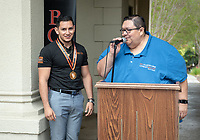 "Jesus Maldonado '00, Director of Upward Bound, and Giovanni Rubio.<br /> Upward Bound hosts their annual ""End of the Year"" celebration with participants and their families on May 12, 2018 in the courtyard of Booth Hall. Jimmy Gomez, U.S. Representative for California's 34th congressional district, was the featured speaker at the event.<br /> Upward Bound was established at Occidental College in 1966 and has since served over 2000 first generation, low income students in the Los Angeles region.<br /> (Photo by Marc Campos, Occidental College Photographer)"