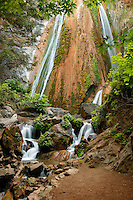 A waterfall in the Redwood grove at Limekiln State Park, Central Coast, Big Sur, California.