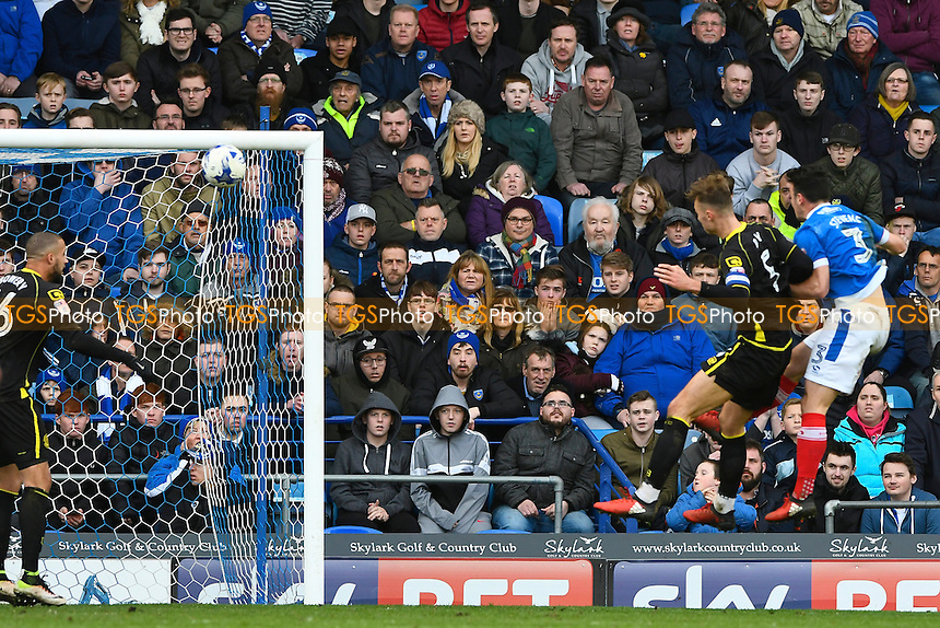 George Ray of Crewe Alexandra second right beats Enda Stevens of Portsmouth to a header to score the first goal of the match during Portsmouth vs Crewe Alexandra, Sky Bet EFL League 2 Football at Fratton Park on 4th March 2017